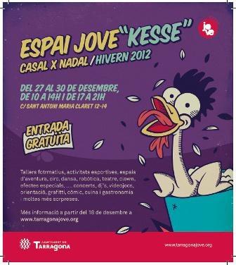 Del 27 al 30 de desembre, activitats per a joves a l'Espai Kesse