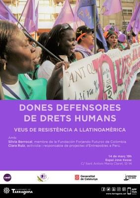 """""""Dones defensores de Drets Humans"""", xerrada sobre la violència contra les dones activistes"""