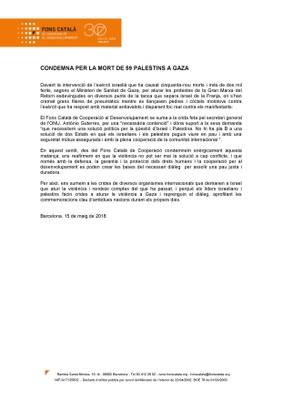 L'ajuntament de Tarragona s'adhereix a la condemna del Fons Català de Cooperació per la mort de 59 palestins a Gaza