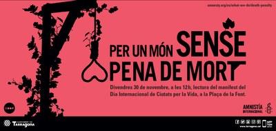 Lectura del manifest 'Ciutats per la vida/Ciutats contra la pena de mort'