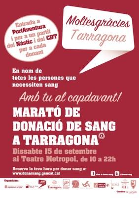 El proper dissabte, 15 de setembre,  arriba una nova edició de la Marató de Donació de Sang