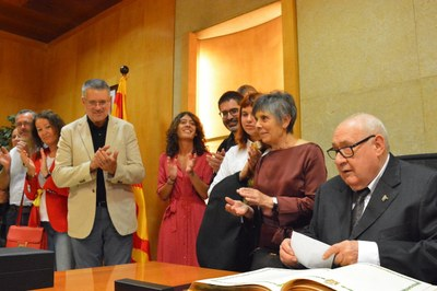 Aquesta tarda Eduard Boada Pascual ha llegit el pregó de Santa Tecla des del balcó de l'Ajuntament