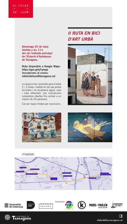 La presentació del nou projecte de Display demà i una II Ruta amb bici d'Art Urbà el diumenge, les noves propostes d'El Teler de Llum