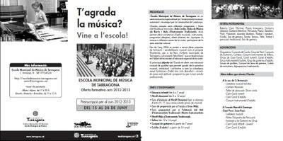 DÍPTIC INFORMATIU DE L'ESCOLA MUNICIPAL DE MÚSICA