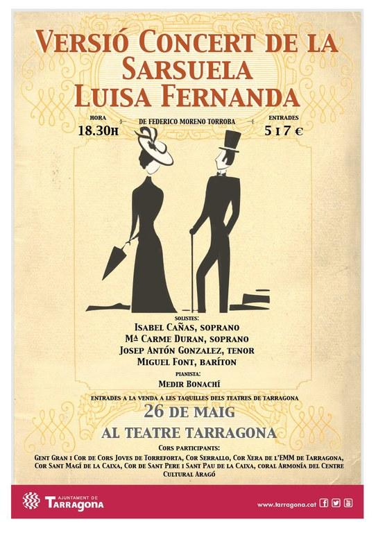 """El Teatre Tarragona acull la versió concert de la sarsuela """"Luisa Fernanda"""""""