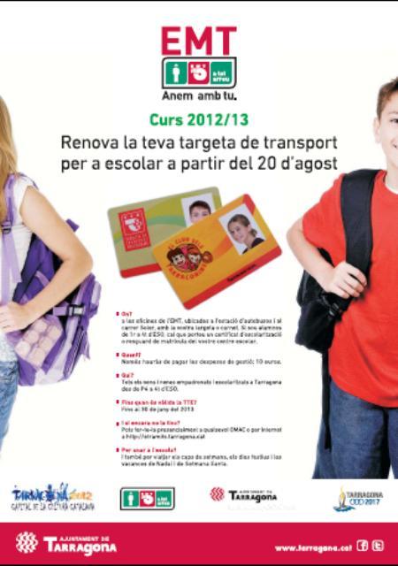 Comença el període de renovació de la targeta de transport per a escolars