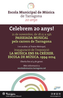 El vintè aniversari de l'Escola de Música se celebra demà