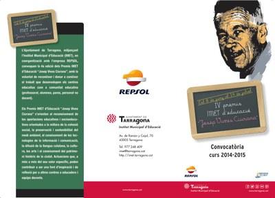 """L'IMET i REPSOL convoquen la 4a Edició dels Premis d'Educació """"Josep Vives Ciurana"""""""