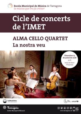 El grup Alma Cello Quartet ofereix un concert gratuït aquest divendres als Jardins del Banc d'Espanya