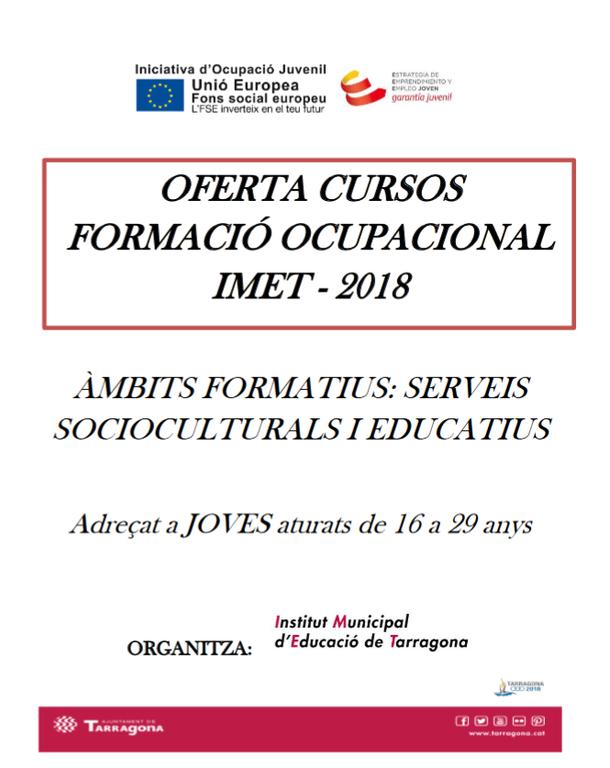 Oberta l'oferta de cursos de formació ocupacional IMET – 2018