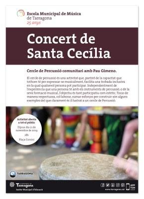 L'Escola Municipal de Música celebra Santa Cecília amb un cercle de percussió comunitari