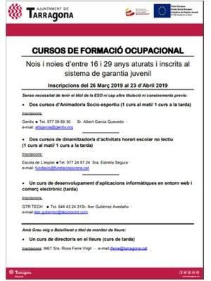 Oferta de cursos de formació ocupacional