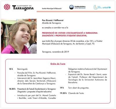 """Presentació de l'estudi """"Escolarització a Tarragona: diagnòstic i propostes d'equitat educativa'"""