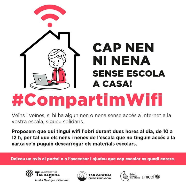 La xarxa wifi TGN_et_connecta restarà oberta perquè els escolars es puguin connectar des de casa
