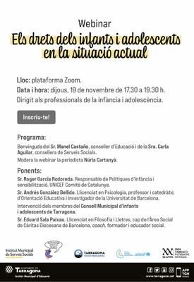 """L'Ajuntament de Tarragona organitza el webinar """"Els drets dels infants en la situació actual"""""""