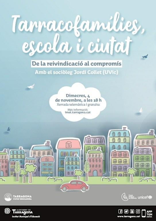 L'IMET promou la xerrada 'Tarracofamílies, escola i ciutat. De la reivindicació al compromís'