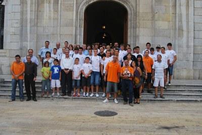 Homenatge de l'alcalde Ballesteros a l'equip de remers del Club Nàutic Tarragona campió d'Espanya 2009