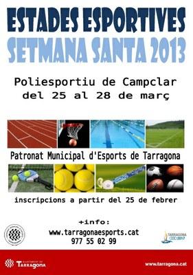 El Patronat Municipal d'Esports de Tarragona organitza Estades Esportives amb motiu de les vacances de Setmana Santa
