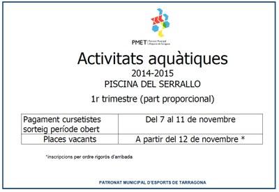 S'obre el període de pagament de les inscripcions a les activitats aquàtiques de la piscina Part Baixa i Serrallo
