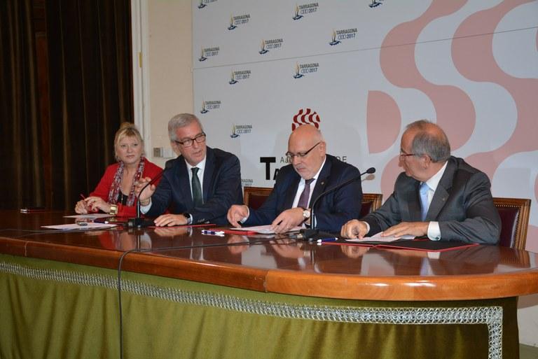 La Generalitat, l'Ajuntament de Tarragona, la Fundació Tarragona 2017 i PIMEC signen un conveni de col·laboració en el marc dels Jocs Mediterranis