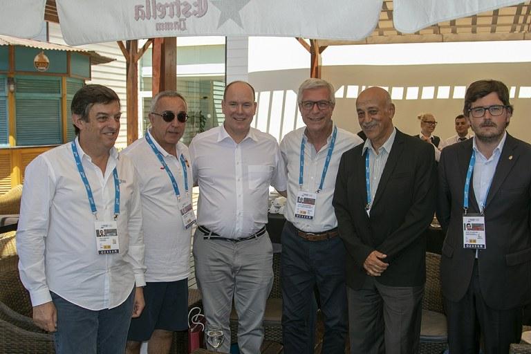 El president del Comitè Olímpic de Mònaco, el príncep Albert, present al debut del tenis de taula als Jocs Mediterranis
