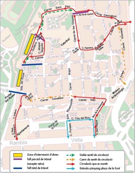 A partir del dilluns 19 de juliol es restringirà el trànsit a la Part Alta amb motiu de les obres de la Muralla