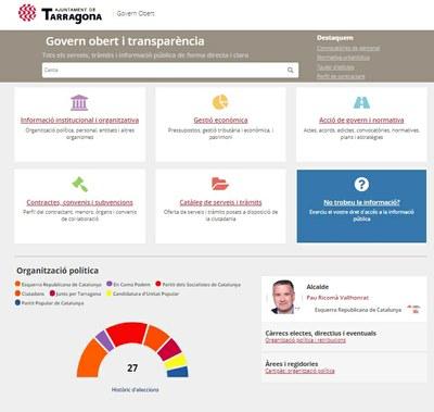 L'Administració Oberta de Catalunya destaca l'Ajuntament de Tarragona per la visualització de la informació al Portal de Transparència