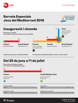 Serveis especials de transport públic i afectacions de mobilitat amb motiu dels Jocs Mediterranis