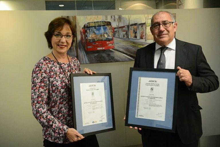 L'EMT revalida la certificació de qualitat UNE-EN 13816 de transport públic i UNE-EN ISO 9001 de gestió