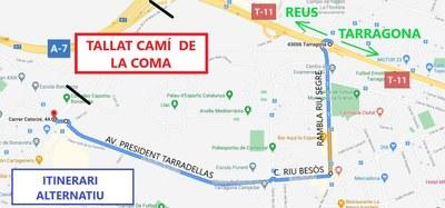Les obres d'urbanització del PP-10 obliguen a tallar el Camí de la Coma, a Bonavista