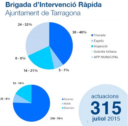 Estadístiques Brigada d'Intervenció Ràpida: Juliol 2015