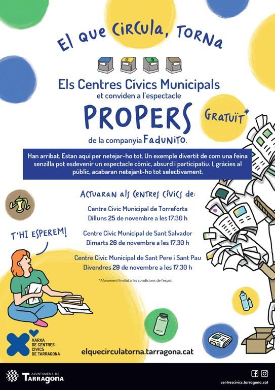 """Els centres cívics municipals de Tarragona et conviden a l'espectacle d'humor familiar """"Propers"""", de la companyia Fadunito"""