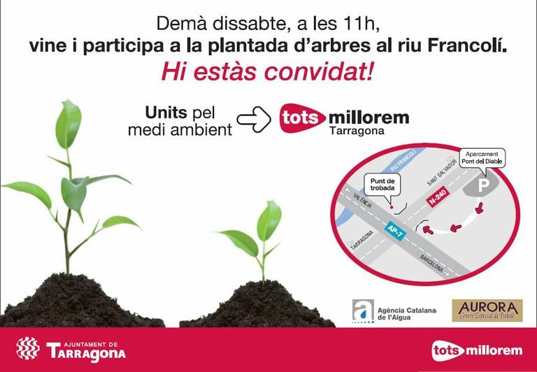 L'Ajuntament de Tarragona convoca la ciutadania a la plantada d'arbres al riu Francolí que es realitzarà el dissabte 19 de febrer