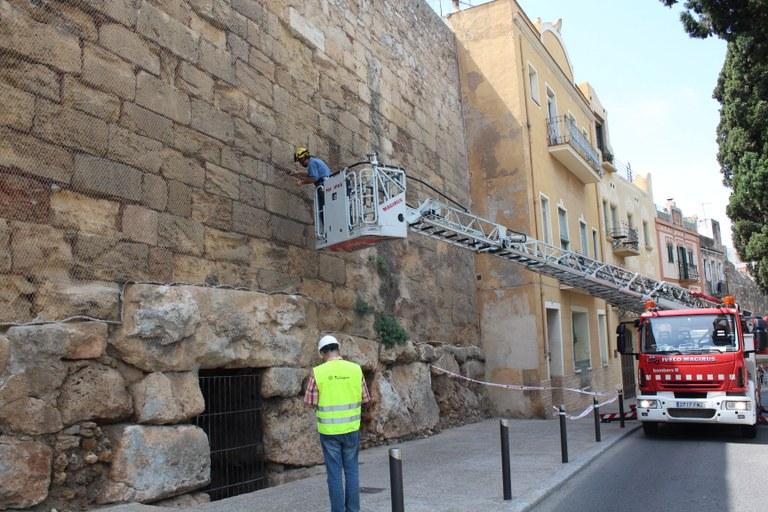 Intervenció a la Muralla per a la conservació del patrimoni i la protecció dels falciots