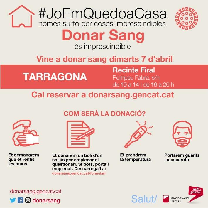 El Recinte Firal de Tarragona acull dimarts una nova campanya especial de donació de sang