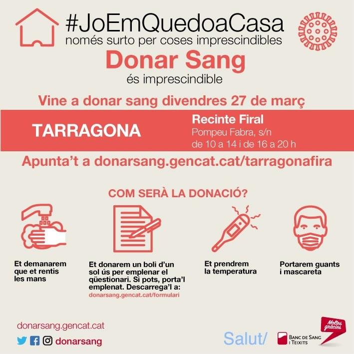 El Recinte Firal de Tarragona acull divendres una campanya especial de donació de sang