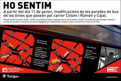 A partir de dilluns les parades d'autobusos del carrer Colom es traslladen al carrer Ramón y Cajal