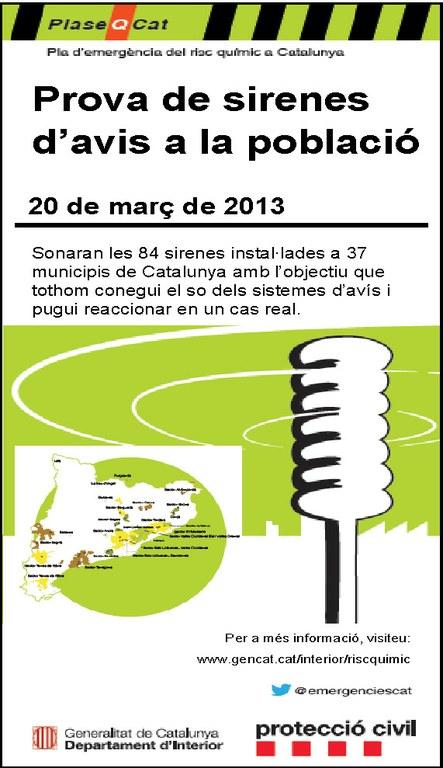 Avui dimecres 20 de març es farà una prova de sirenes de risc químic