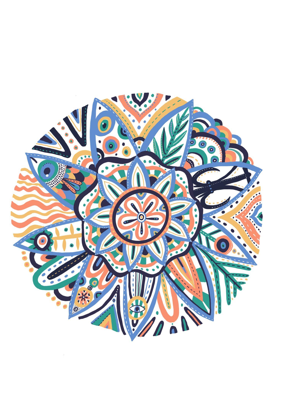 Mandala dissenyat per Berta Artigal inspirat en Tarragona i en la salut mental.