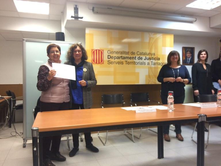 Reconeixement a Núria Vernet, coordinadora de la Comissió de seguiment del protocol de la violència masclista de Tarragona