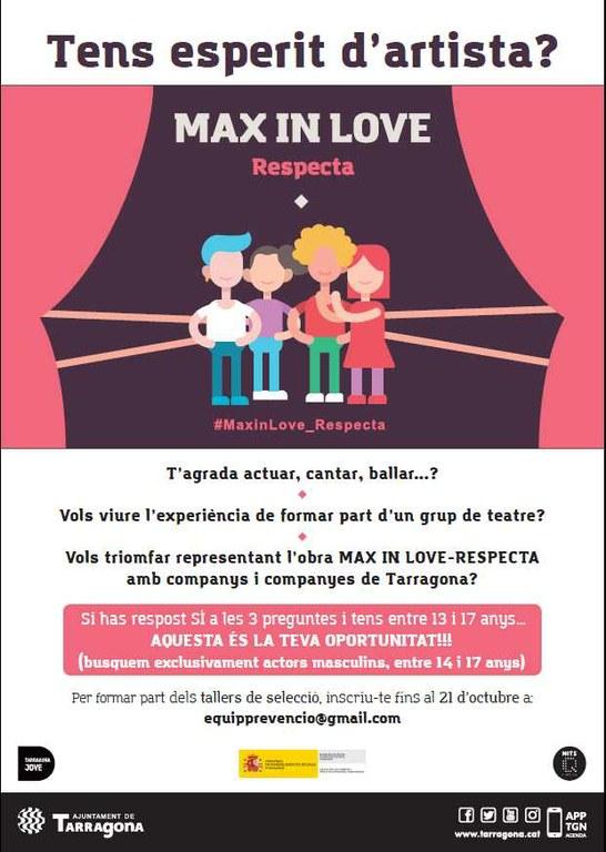 L'espectacle educatiu 'Max in Love - Respecta' busca actors masculins per reprendre les seves funcions a partir del proper mes de gener