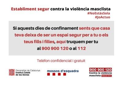 """La campanya """"Establiment segur contra la violència masclista"""" pretén ampliar el suport a dones que pateixin aquesta situació"""