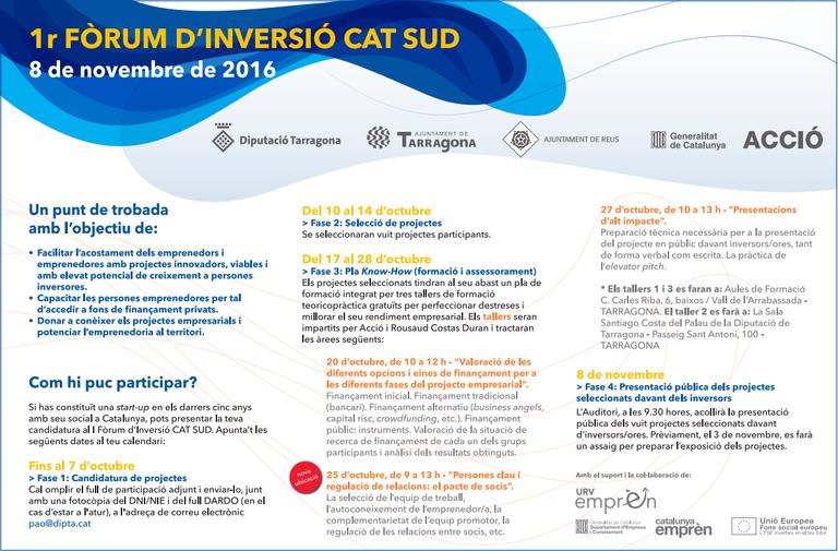 El 1r Fòrum d'inversió CAT SUD reunirà els millors projectes emprenedors del Camp de Tarragona i les Terres de l'Ebre
